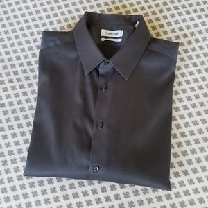 Calvin Klein Non-Iron Slim Fit Gray Dress Shirt